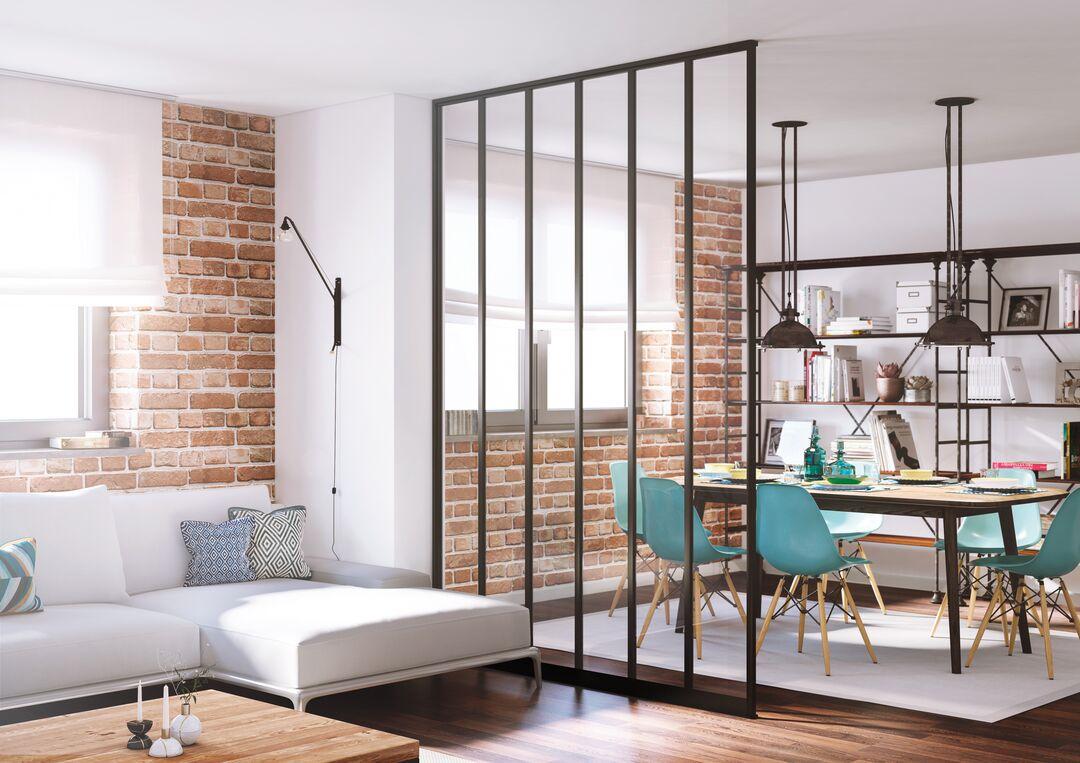 Séparez votre salon et votre salle à manger avec une cloison transparente - Ykario